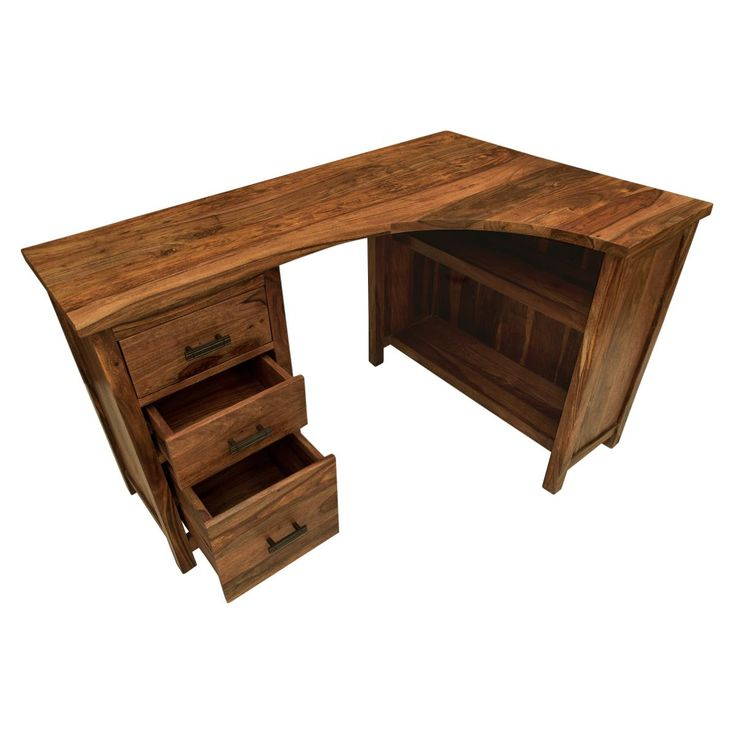 Solid sheesham wood corner desk hand for office or home working and study. Hand made in India, part of our Mallani collection furniture. Curved desk top fits corner space perfectly. Fair Trade.