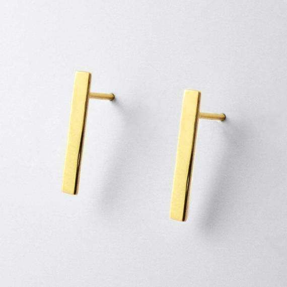 Medium Size Line Stud Earrings Yellow Gold by ANMAjewellery