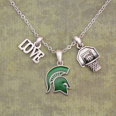 Michigan State Spartans Basketball Necklace