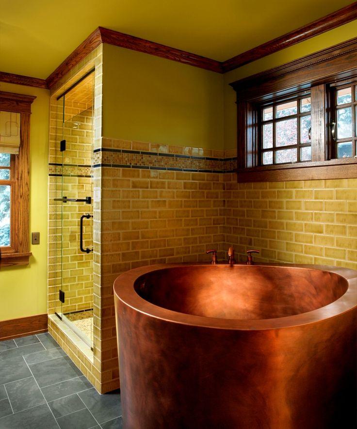 Copper Japanese Deep Soaking Bath: Bathroom Design, Japanese Soaking Tubs, Colors Combos, Bath Tubs, Bathtubs, Subway Tile, Design Interiors, Copper Tubs, Bathroom Ideas