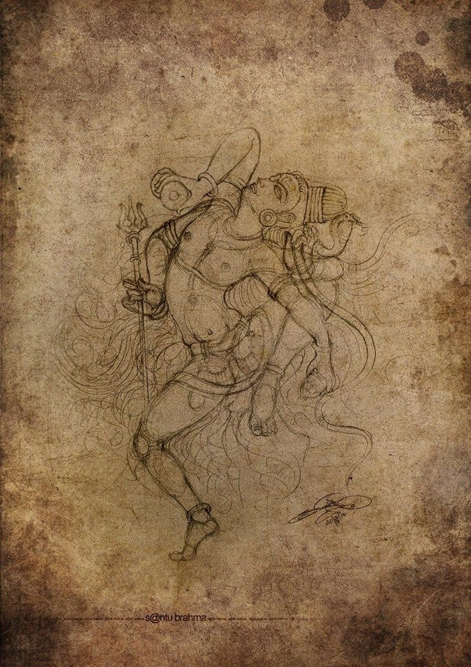 Dancing Shiva drawing by Santu Brahma