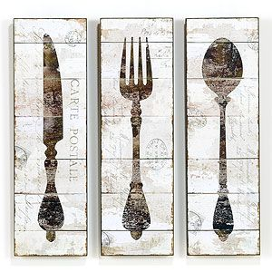 Wood Panel Wall Art {old World Knife + Fork + Spoon} I Want To