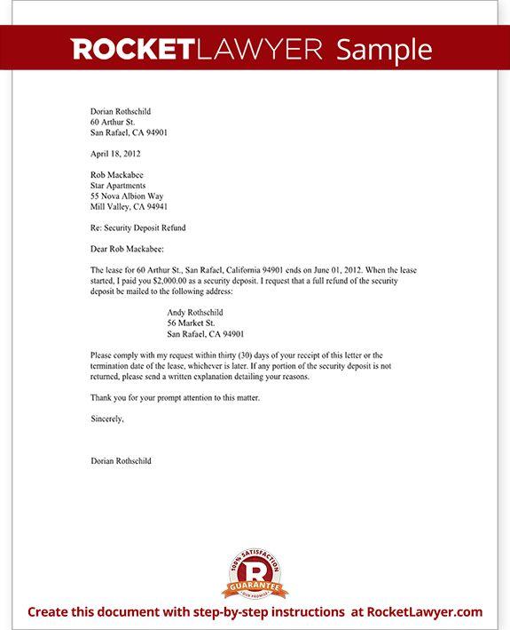 Sample Security Deposit Refund Letter Form Templateg Request For