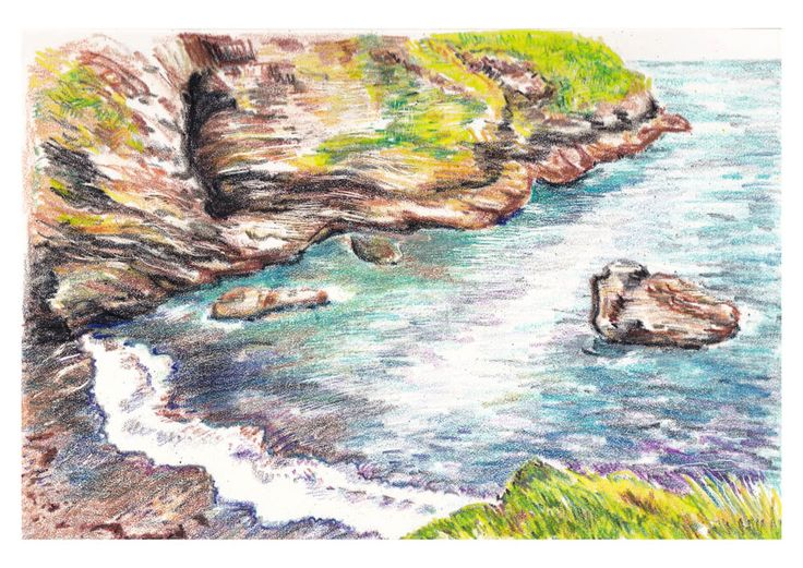 Tintagel, Cornwall / Crayon art by Deidre Wicks