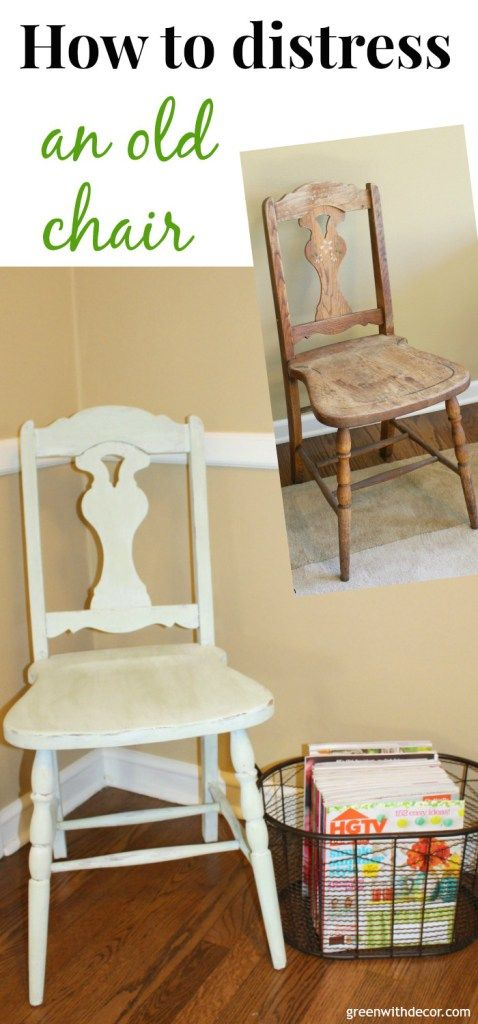 How to distress an old chair. This is such an easy tutorial, and I love the way she mixed paint colors to get this pretty color! | Green With Decor [sponsored]