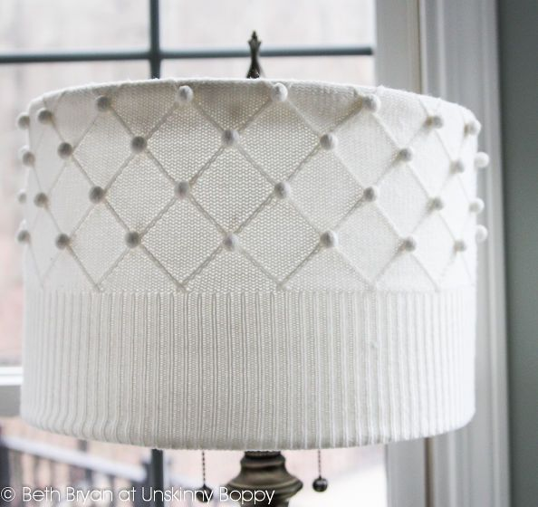 how to cozy up a lampshade with a thrift store sweater keepingcozy, home decor, lighting, The end result A pretty new lampshade for just 2 99