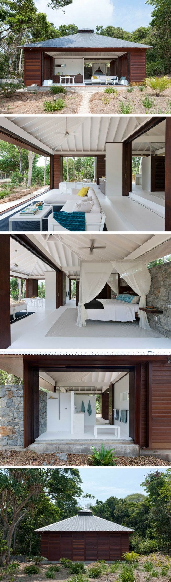 A 1,100 sq ft beach house in Queensland, Australia. The home can be opened and closed as needed!