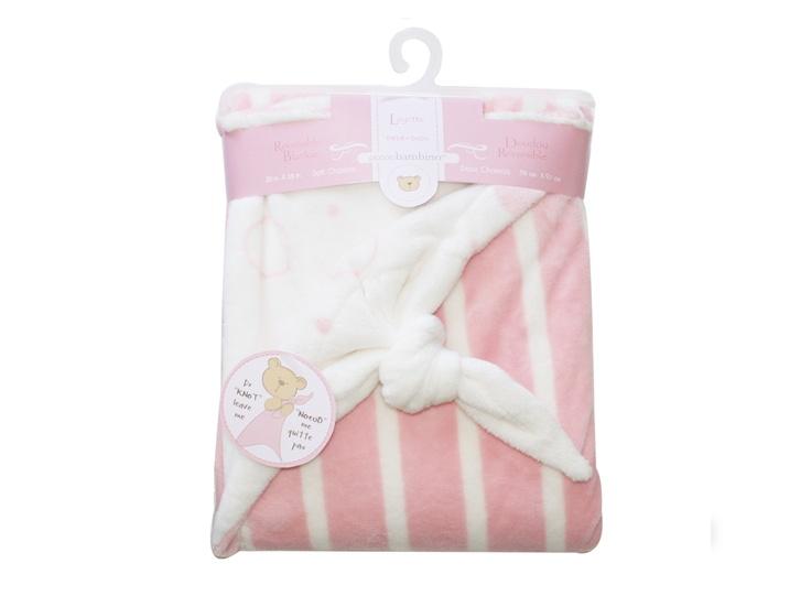 Piccolo Filt med knut, rosa/vit - Bonti