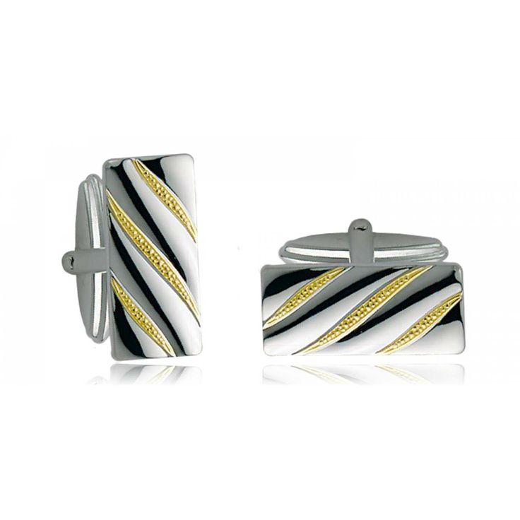 Men silver Diagonale cufflinks - Bijoux GL