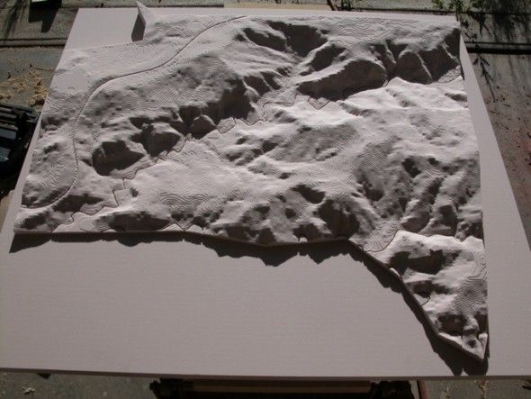 This Topographical model was made with Precision Board by Clinton Systems. More info at: http://precisionboard.com/product_users_tooling/topographical-model-making-with-clinton-systems/