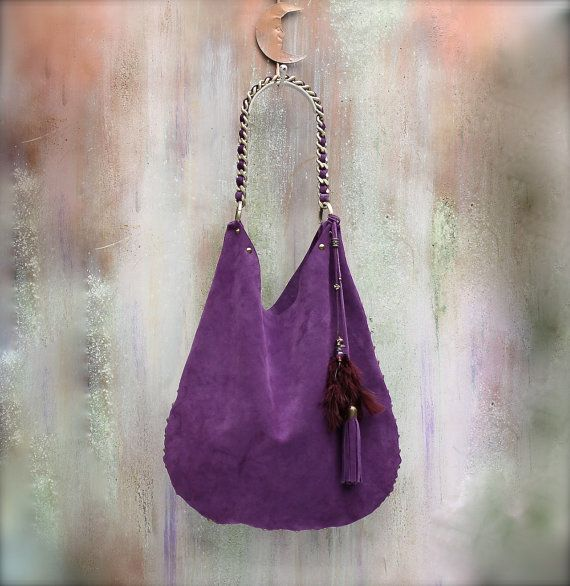 LEATHER HOBO BAG plum suede boho bag large  by AgnesDeJuliisShop