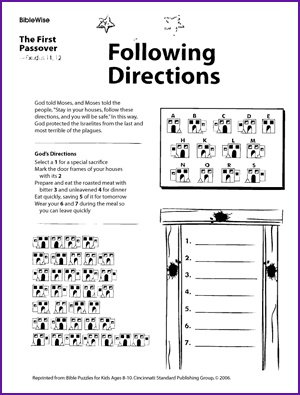 Following Directions (First Passover Puzzle) - Kids Korner - BibleWise