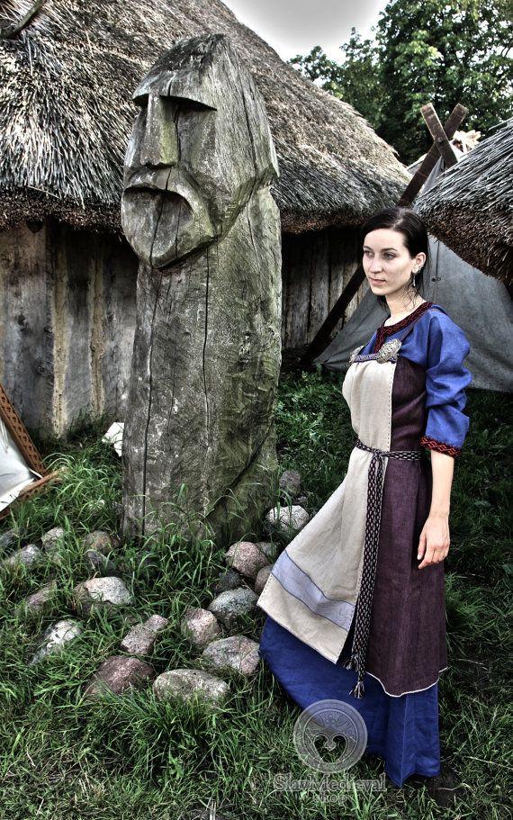 Skandinavische Schürze Kleid, früh mittelalterlich, Viking Kleid, für Viking Reenactors, Wikinger Kostüm