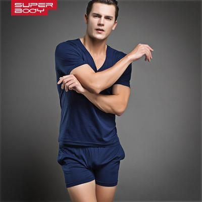 Men T Shirt Cotton Pajama Set Sleepwear Sexy Mens Underwear Tees Undershirts Tshirts Brand  Casual Short Sleeve Boxers