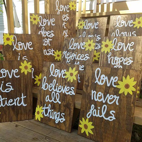 Hochzeit Gang Zeichen Set von 10 Korinther 13 Zeichen Liebe ist   – aj and tova