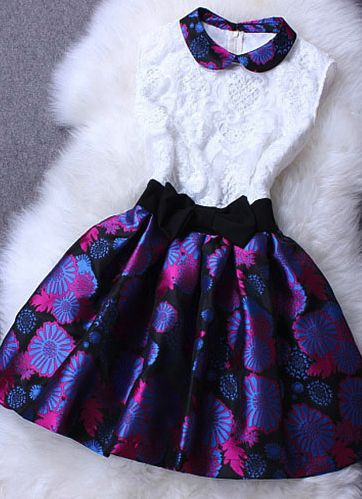 Peter Pan Collar Sleeveless Skater Dress Floral Flared Ruffled Skirt