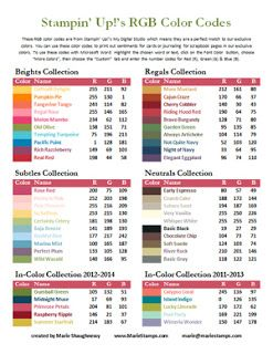 Stamping Inspiration: TOOL TIP TUESDAY, RGB & Hex Color Code Charts for Stampin' Up! Colors... :)