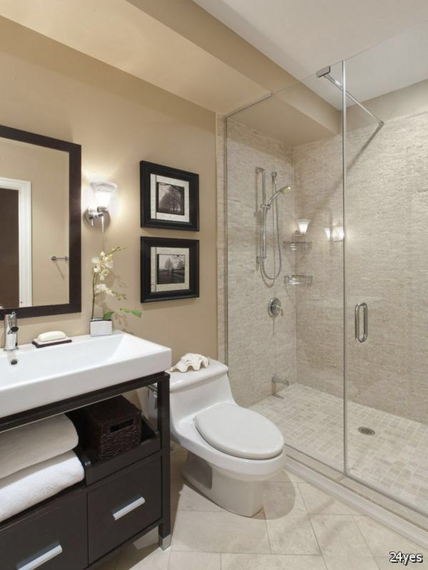 Sorta like this layout, shower and toilet position, not this sink style, do like wood flooring and framed mirror and lighting