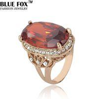 nuovo 2014 hot bohemian dei monili in oro rosa di cristallo di modo anelli anello di nozze per la donna di fascino all'ingrosso