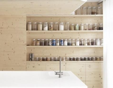 storage. Shelving in a modern kitchen in the Netherlands from Dutch architects i29.