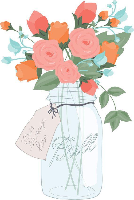 mason jar bouquet digital clip