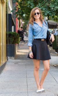 Look: Camisa Jeans + Saia Preto