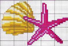 conchiglia e stella marina - punto croce - cross Stitch - Kreuzstich - Punto de Cruz