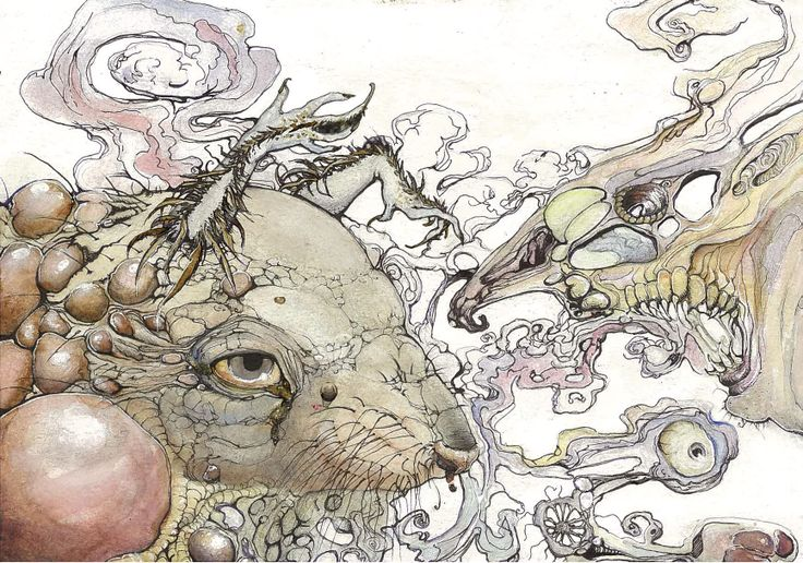 Spirit Animal, acrylic and ink on 210gsm paper, October 2013, by Gemma Proebst