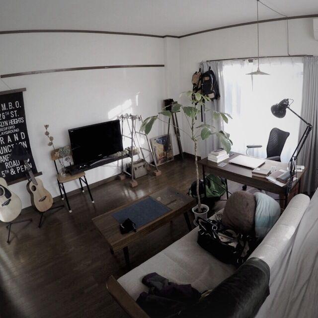 男性で、2DK、一人暮らしのペンダントライト/大学生/賃貸/メンズ部屋/SINGLE HACK/古道具…などについてのインテリア実例を紹介。「全体」(この写真は 2015-02-14 18:46:19 に共有されました)