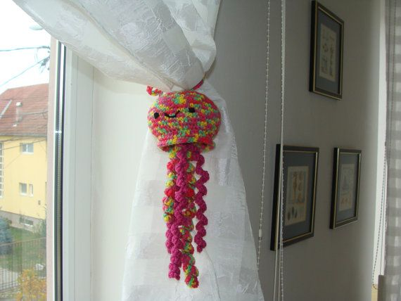 Amigurumi Doll Jellyfish, Jellyfish Curtain Tie Back, Animal Curtain Tie Room Decoration, Amigurumi Animals, Jellyfish Crochet,Gift for Kids