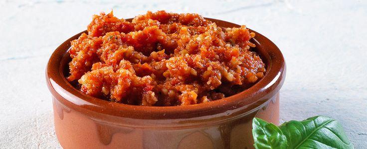 Pesto av soltørket tomat (rød pesto)