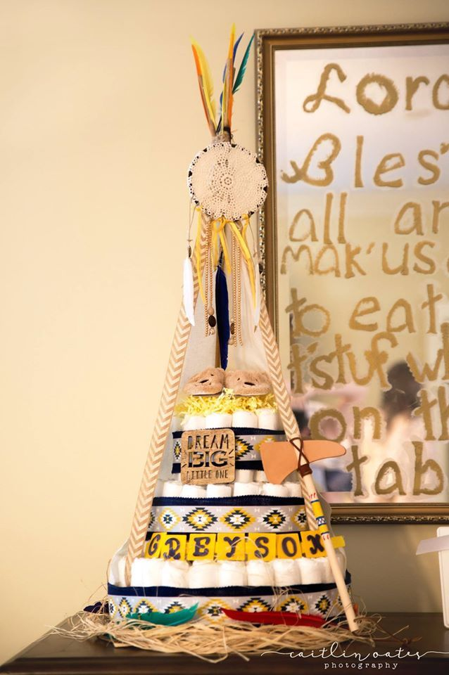 Teepee Indian/tribal themed diaper cake for Caitlin's baby shower