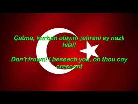 Istiklal Marsi - Turkey National Anthem with English translation of lyrics displayed
