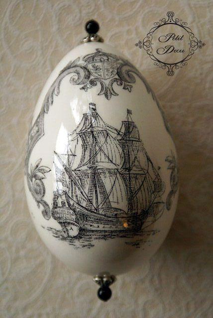 Nautical theme on egg, decoupage