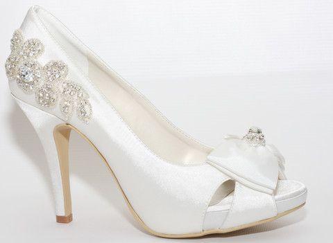 """""""Élise"""" Embellished Open Toe Bridal Platform with Jewelled Grosgrain Bow"""