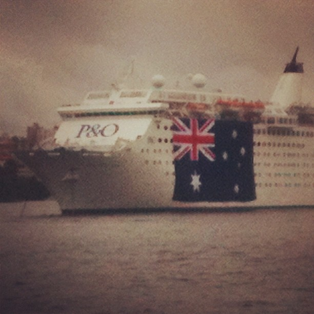As Sydney preps for this years Australia Day festival and fireworks show, P&O cruise liners gets in on the action. Taken by Geoffrey Rogow.