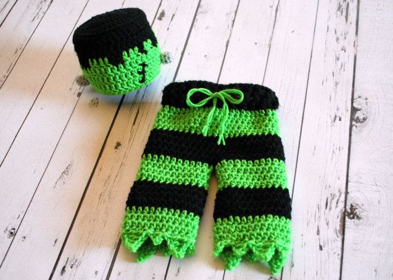 This crocheted Frankenstein Costume would be perfect for your little ones Halloween Costume or as a photography prop for your October baby! Pants
