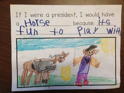 """Writing Activity, """"If I Were a President, I Would Have a _______"""" to go with Book, First Pets"""