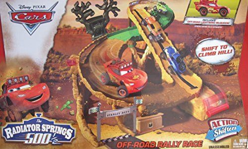 Disney/Pixar Cars Radiator Springs 500-1/2 Off Road Rally Race Action Shifters Connectable Playset w Off-Road Lightening McQueen Vehicle