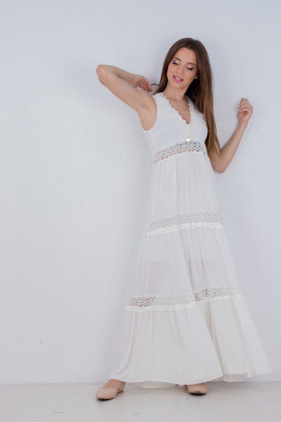 1c4c835ec2a Γυναικείο φόρεμα maxi boho ΛΕΥΚΟ | ΦΟΡΕΜΑΤΑ | Φορέματα