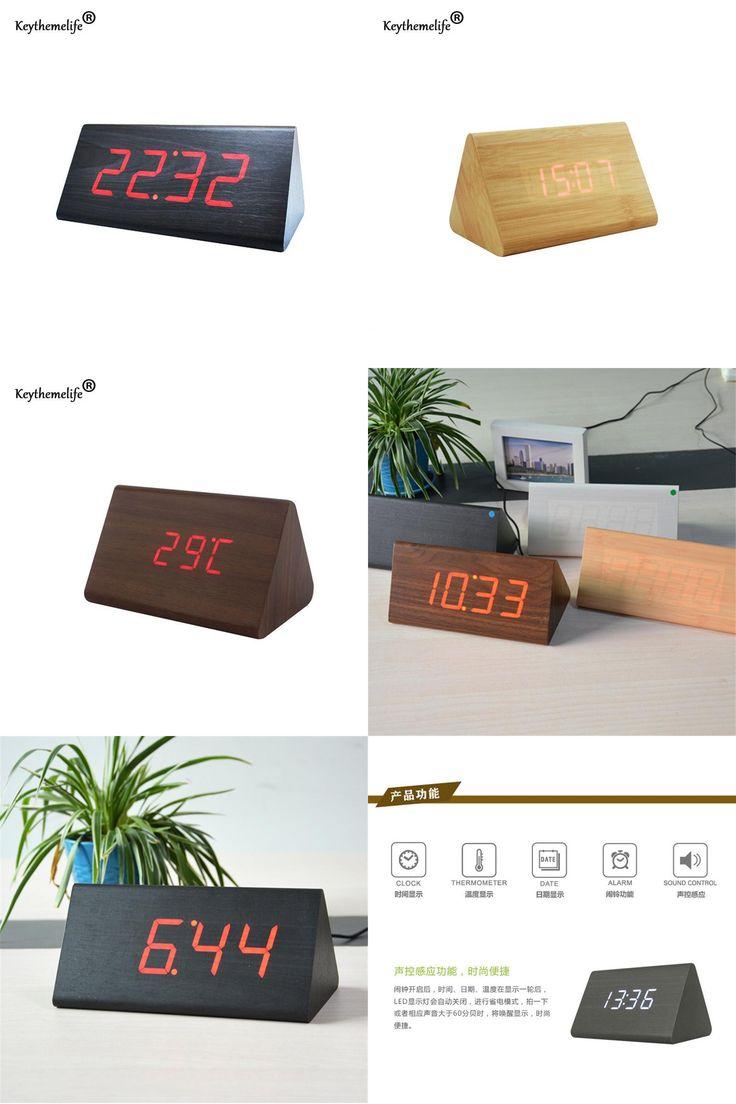 [Visit to Buy] Keythemelife Simple Alarm Clock Temperature Sounds Control LED Display Electronic Desktop Digital Table Clocks Bedroom Decor 2B #Advertisement