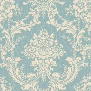 The Wallpaper Company 56 Sq Blue And Cream Mid Scale Damask On A Moire Background