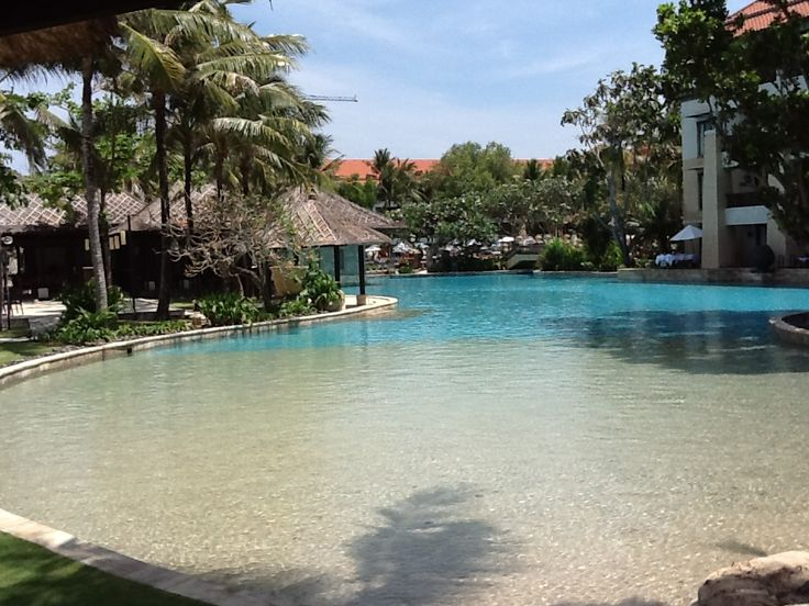 The Lagoon Pool at the Conrad Bali Resort even has its own little beach areas.