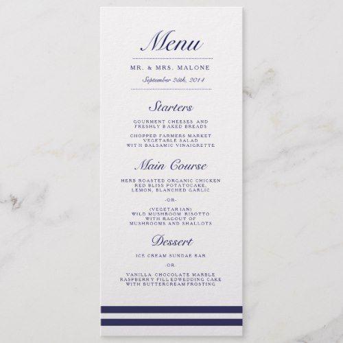 Nautical Navy Wedding Dinner Menu