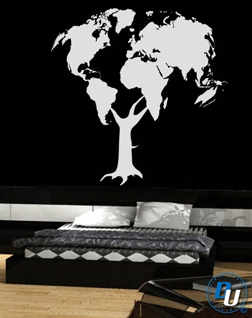 World Map Tree  - Removable Vinyl Wall Decal Art Decor Sticker Mural Modern Globe Earth. $69.99, via Etsy.