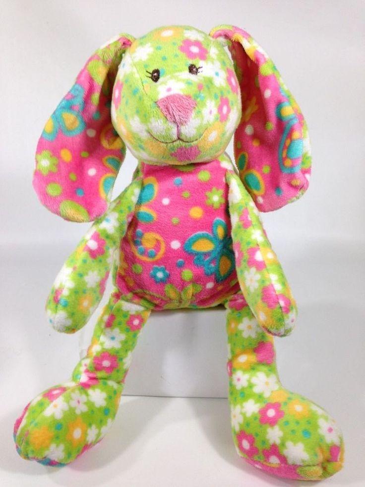 "Easter Bunny Plush Pastel Flowers Soft Bean Bottom Stuffed Animal 12"" #Unknown"