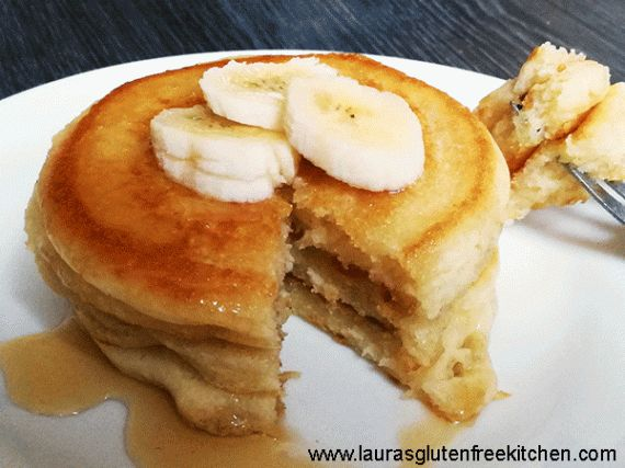 Gluten free american style pancakes --- Gluten Free American Style Pancakes with bananas and a good squeeze of honey, an indulgent yet healthy breakfast for the whole family to enjoy.