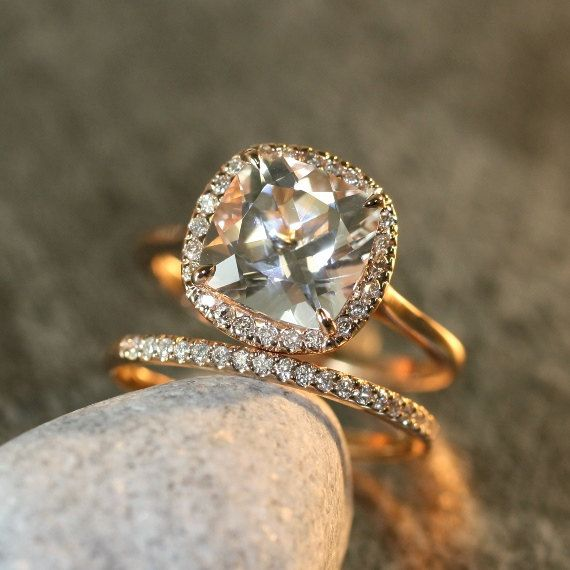 9x9mm Cushion White Topaz Halo Diamond Engagement Ring and Half Diamond Eternity Wedding Ring Set in 14k Rose Gold  (Custom Ring Set ok)