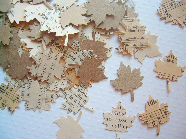 Vintage Wedding - Autumn Leaves Vintage Paper Confetti wedding decor. $8.00, via Etsy.