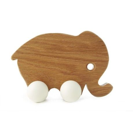 Hop and Peck Mother Elephant Wooden Toy- White